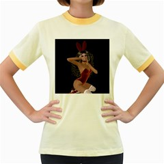 Miss Bunny In Red Lingerie Women s Ringer T Shirt (colored)