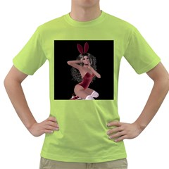 Miss Bunny In Red Lingerie Men s T-shirt (Green)