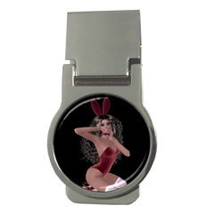 Miss Bunny In Red Lingerie Money Clip (Round)