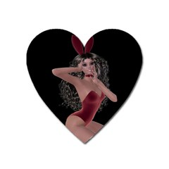Miss Bunny In Red Lingerie Magnet (Heart)