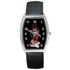 Miss Bunny In Red Lingerie Tonneau Leather Watch
