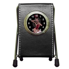 Miss Bunny In Red Lingerie Stationery Holder Clock
