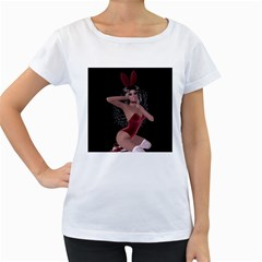 Miss Bunny In Red Lingerie Women s Maternity T-shirt (White)