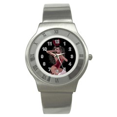Miss Bunny In Red Lingerie Stainless Steel Watch (Slim)