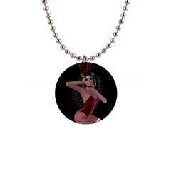Miss Bunny In Red Lingerie Button Necklace