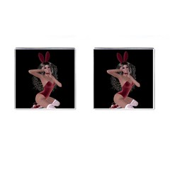 Miss Bunny In Red Lingerie Cufflinks (square)