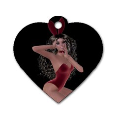 Miss Bunny In Red Lingerie Dog Tag Heart (one Sided)