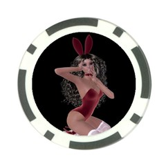 Miss Bunny In Red Lingerie Poker Chip
