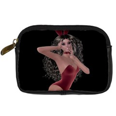 Miss Bunny In Red Lingerie Digital Camera Leather Case