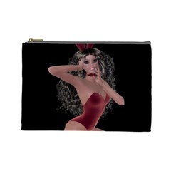 Miss Bunny In Red Lingerie Cosmetic Bag (Large)