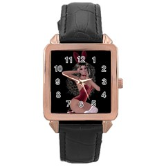Miss Bunny In Red Lingerie Rose Gold Leather Watch