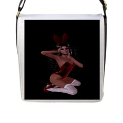 Miss Bunny In Red Lingerie Flap Closure Messenger Bag (large)