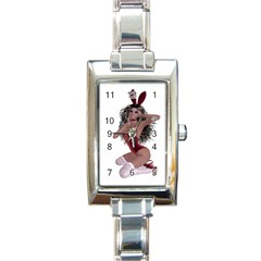 Miss Bunny In Red Lingerie Rectangular Italian Charm Watch