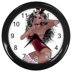 Miss Bunny in red lingerie Wall Clock (Black)