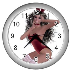 Miss Bunny in red lingerie Wall Clock (Silver)