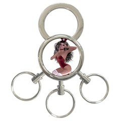 Miss Bunny in red lingerie 3-Ring Key Chain