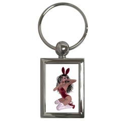 Miss Bunny in red lingerie Key Chain (Rectangle)