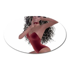 Miss Bunny in red lingerie Magnet (Oval)