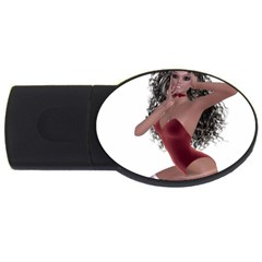 Miss Bunny in red lingerie 2GB USB Flash Drive (Oval)