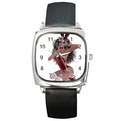 Miss Bunny in red lingerie Square Leather Watch
