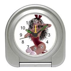 Miss Bunny in red lingerie Desk Alarm Clock