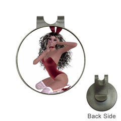 Miss Bunny in red lingerie Hat Clip with Golf Ball Marker