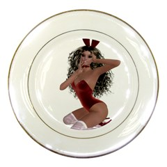 Miss Bunny In Red Lingerie Porcelain Display Plate