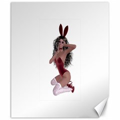 Miss Bunny in red lingerie Canvas 20  x 24  (Unframed)