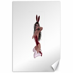 Miss Bunny in red lingerie Canvas 20  x 30  (Unframed)