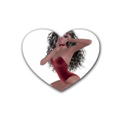 Miss Bunny in red lingerie Drink Coasters (Heart)