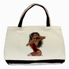 Miss Bunny In Red Lingerie Twin Sided Black Tote Bag