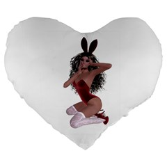 Miss Bunny in red lingerie 19  Premium Heart Shape Cushion