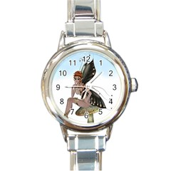 Fairy Sitting On A Mushroom Round Italian Charm Watch