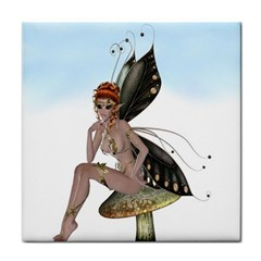 Fairy Sitting On A Mushroom Ceramic Tile