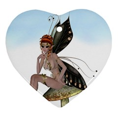 Fairy Sitting On A Mushroom Heart Ornament