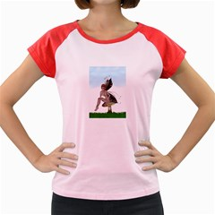 Fairy Sitting On A Mushroom Women s Cap Sleeve T-Shirt (Colored)