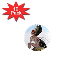 Fairy Sitting On A Mushroom 1  Mini Button Magnet (10 Pack)