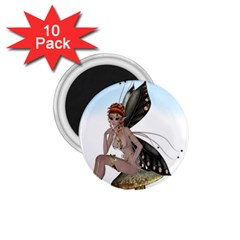 Fairy Sitting On A Mushroom 1.75  Button Magnet (10 pack)