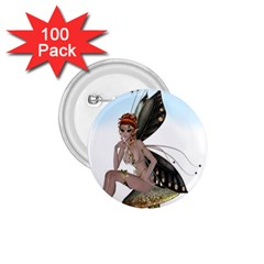 Fairy Sitting On A Mushroom 1.75  Button (100 pack)