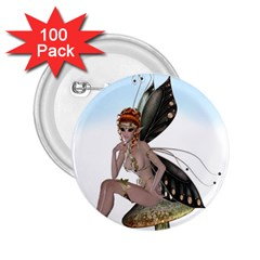 Fairy Sitting On A Mushroom 2.25  Button (100 pack)