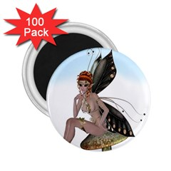 Fairy Sitting On A Mushroom 2.25  Button Magnet (100 pack)