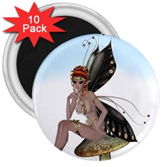 Fairy Sitting On A Mushroom 3  Button Magnet (10 pack)