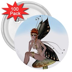 Fairy Sitting On A Mushroom 3  Button (100 pack)