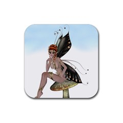 Fairy Sitting On A Mushroom Drink Coasters 4 Pack (square)