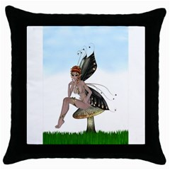 Fairy Sitting On A Mushroom Black Throw Pillow Case