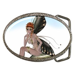 Fairy Sitting On A Mushroom Belt Buckle (Oval)