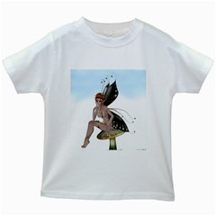 Fairy Sitting On A Mushroom Kids T-shirt (White)