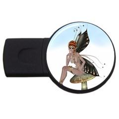 Fairy Sitting On A Mushroom 2GB USB Flash Drive (Round)