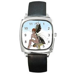 Fairy Sitting On A Mushroom Square Leather Watch