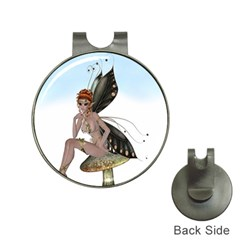 Fairy Sitting On A Mushroom Hat Clip with Golf Ball Marker